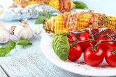Grilled bacon wrapped corn on table, close-up — Foto de Stock