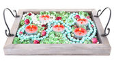 Candles on vintage tray with decorative beads, stones, isolated on white — 图库照片