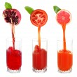 Juice pouring from fruits and vegetables into glass, isolated on white — Stock Photo #51433225