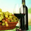 Ripe grapes in wicker basket, bottle and glass of wine, on bright background — Stock Photo #51433341