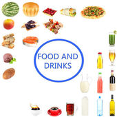 Food and drinks collage isolated on white — ストック写真