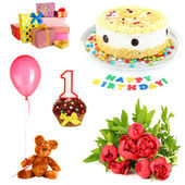 Birthday collage isolated on white — Stock Photo