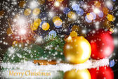 Beautiful Christmas composition on bright background — Stock Photo