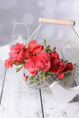 Flowers in basket on bright background — Stock Photo