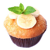 Tasty banana muffin isolated on white — Stok fotoğraf