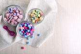 Beading kit of different shape for children on a napkin — Stock Photo