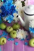 Composition of white and blue chrysanthemum and utensil close-up — Stock Photo