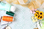Scrapbooking craft materials on light background — Stock Photo