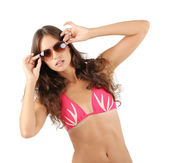Young woman in pink swimsuit — Stock Photo