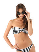 Beautiful woman in striped swimsuit — Stock Photo