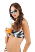 Woman in swimsuit with cocktail — Stock Photo