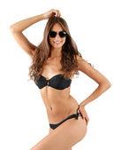 Beautiful woman in black swimsuit — Stock Photo