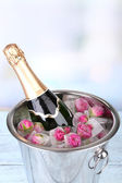Frozen rose flowers in ice cubes and champagne bottle in bucket, on light background — Stock Photo