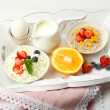 Delicious breakfast on table, close up — Stock Photo #51445551