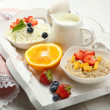 Delicious breakfast on table, close up — Stock Photo #51445553