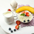 Delicious breakfast with cottage cheese, milk and fruits — Stock Photo #51445623