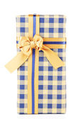 Gift box with colorful ribbon isolated on white — Stock Photo