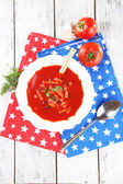 Tasty tomato soup with croutons on table close-up — Zdjęcie stockowe