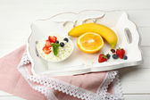 Delicious breakfast with cottage cheese and fruits — Stock Photo