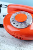 Retro red telephone, close up — Stock Photo