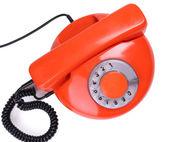Retro red telephone, isolated on white — Stock Photo