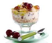 Yoghurt met vers druif en apple segmenten — Stockfoto