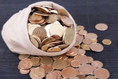 Fabric bag full of Ukrainian coins on wooden background — Stock Photo
