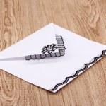White envelope on wooden background — Stock Photo #8931453