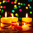 Beautiful candles and decor on wooden table on bright background — Stock Photo #9894721