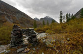 Stone pile at the Altai mountains — Stockfoto