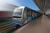 Moscow metro train in motion — Stock Photo