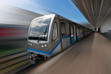 Moscow metro train in motion