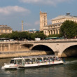 Excursion boat at the Seine in Paris — Stok fotoğraf