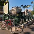 Stock Photo: Bicycle at Paris metro station