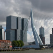 Erasmus bridge and skyscrapers of Rotterdam — Stock Photo