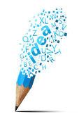 Creative pencil with idea isolate on white — Stock Photo