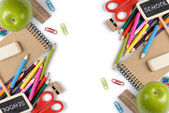 School and office supplies frame, on white background, back to school — Stock Photo