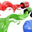 Pouring paints of CMYK colors from its buckets — Stock Photo #27187053