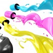 Pouring paints of CMYK colors from its buckets — Stock Photo #27187063