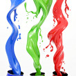 Pouring paints of CMYK colors from its buckets — Stock Photo #27187147