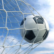 Soccer ball in goal  — Stockfoto