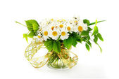 Bouquet of flower in vase isolated on white background — Stock Photo