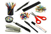 School and office supplies frame, on white background — Stock Photo