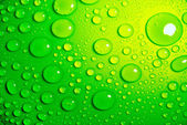 Water drops over green Closeup — Stock Photo