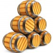 Wooden barrels on white background — Stock Photo