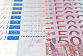 Banknotes in a row European Union Currency — Stock Photo