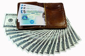 Banknote in wallet isolated on white — Stock Photo