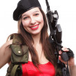 Girl holding Rifle islated on white background — Foto de Stock