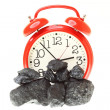 Pieces of coal isolated on white background — Stock Photo