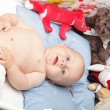 Baby boy in diaper — Stock Photo